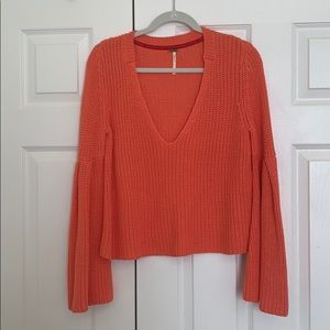 Free People bell sleeves orange knit sweater